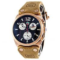 Механические часы в стиле TAG Heuer - Formula 1 - цвет корпуса золотистый, замшевый ремешок