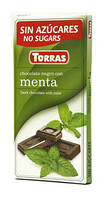 Шоколад без сахара и глютена Torras черный с мятой Испания 75г