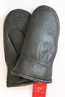 Кожаные теплые варежки с мехом R50