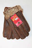 Мужские перчатки дубленка Виктор коричневый