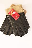 Мужские перчатки дубленка Виктор темно-коричневый