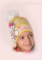 """Зимняя шапочка для девочки """"Hello Kitty"""", р-р 50-54"""