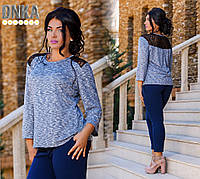 Стильная женское блузка батальная с гипюром