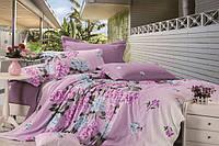 Постельное белье Фиалка, сатин ТМ Идеал, розовый, голубые фиалки, 1,5, 2-спальный, евро, семейный