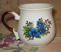 Чашка бочонок (синие незабудки)