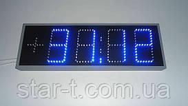 Светодиодные табло синего цвета. Уличные часы, календарь, термометр.