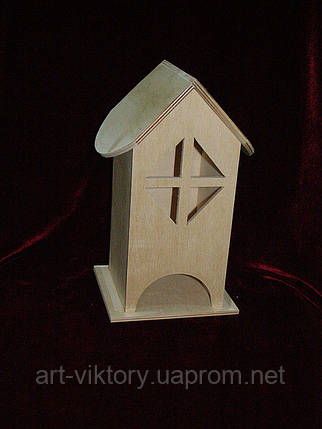 Чайный домик под декупаж окошечки ромбик (10 х 10 х 23 см), фото 2