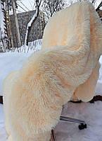 Меховой плед травка (высокий ворс) персиковый