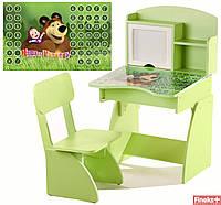 Детская парта с мольбертом растущая + стульчик 107 Финекс Плюс, салатовая