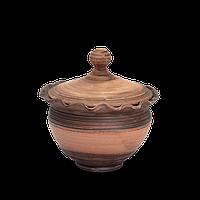 Горшок - волна глиняный (макитра) с крышкой Этно EA02 Покутская керамика 1 литр
