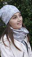 Модный комплект из шапочки и хомута для девочки