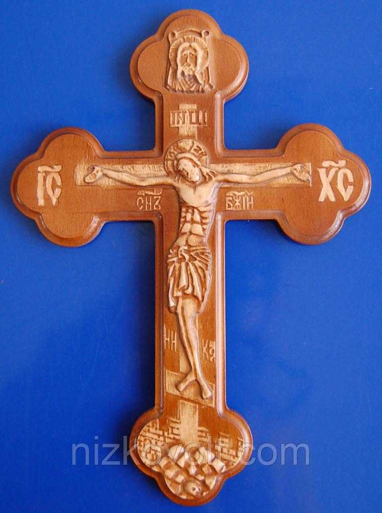 Крест настенный резной из дерева (300х220х18)