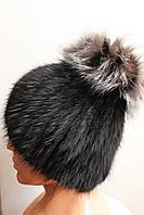 Женская меховая шапка из меха чернобурки на трикотажной основе, от производителя, кубанка