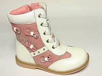 Ортопедические детские ботинки для девочек Шалунишка, кожа комбинированная, весна-осень, размеры 24-28