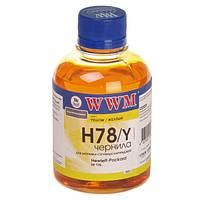 Чернила wwm для hp №178 200г yellow Водорастворимые (h78/y)