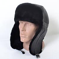 Мужская шапка-ушанка из натуральной кожи на меху (код 29-494)