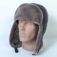 Мужская шапка-ушанка из натуральной кожи на меху (код 29-495)