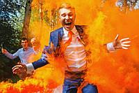 Ручний помаранчевий кольоровий дим найнасиченіший (дим13), 60 сек., Димова шашка, кольоровий дим, фото 1