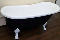 Отдельностоящая акриловая ванна на львиных лапах без перелива Atlantis C-3015 чёрная, ножки белые