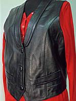 Жилет кожаный женский длина 50см 44р 46р 48р.