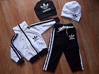 Детский Спортивный Костюм Двойка в стиле Adidas Черно-Белый без капюшона  Рост 74-128 см