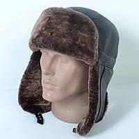 Мужская шапка-ушанка из натуральной кожи на меху (код 29-497)