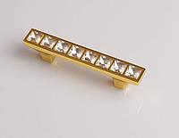 Ручка-скоба с кристаллами MONE GOLD 3231-64KRG золото глянец 64 мм, фото 1