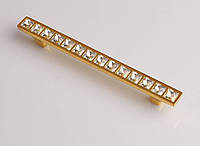 Ручка-скоба  с кристаллами MONE GOLD 3231-128KRG золото глянец 128 мм, фото 1
