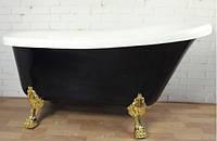 Отдельностоящая акриловая ванна на львиных лапах без перелива Atlantis C-3015 чёрная, ножки золото