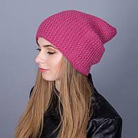 Зимняя женская шапка-чулок крупной вязки из ангорки - Артикул 7035