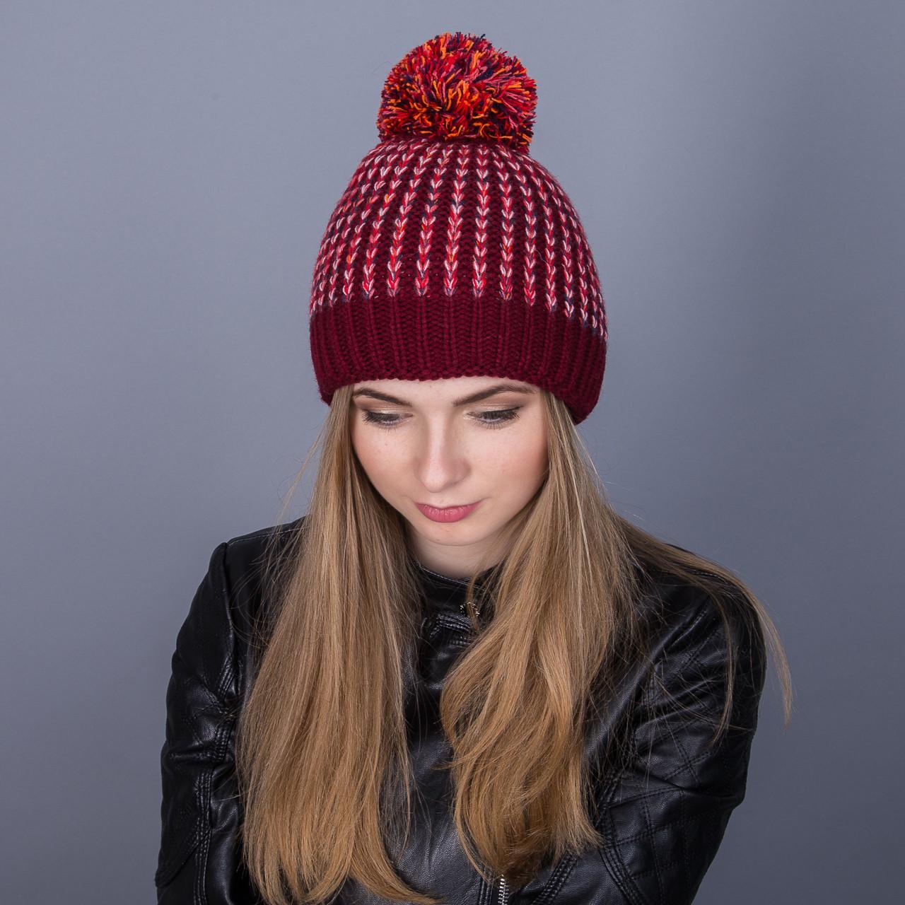 Женская шапка с помпоном из ангорки разноцветная зимняя - Артикул 7027