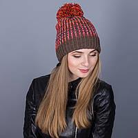 Разноцветная зимняя женская шапка с помпоном из ангорки - Артикул 7031