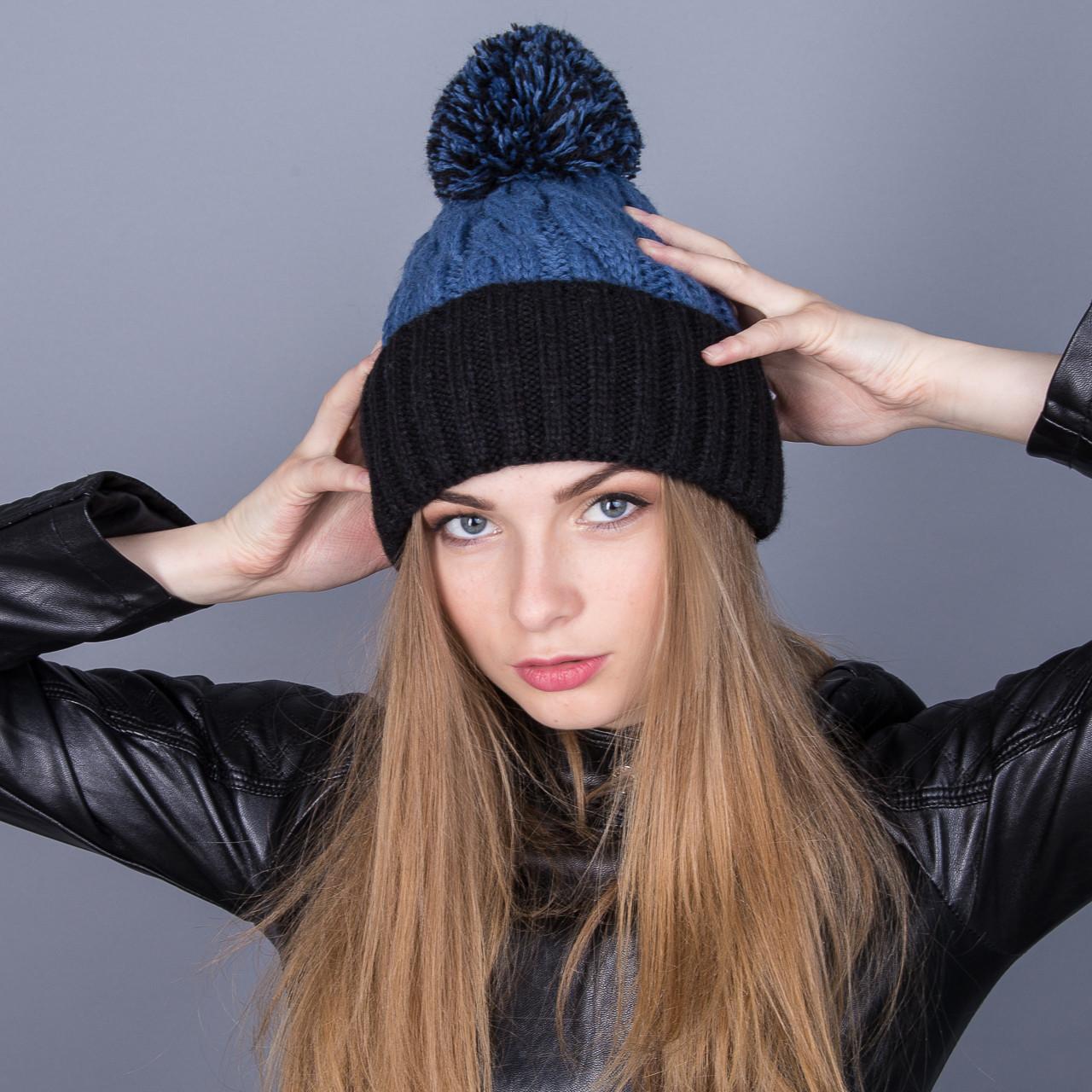 Модная зимняя женская шапка с помпоном из ангорки - Артикул 7014