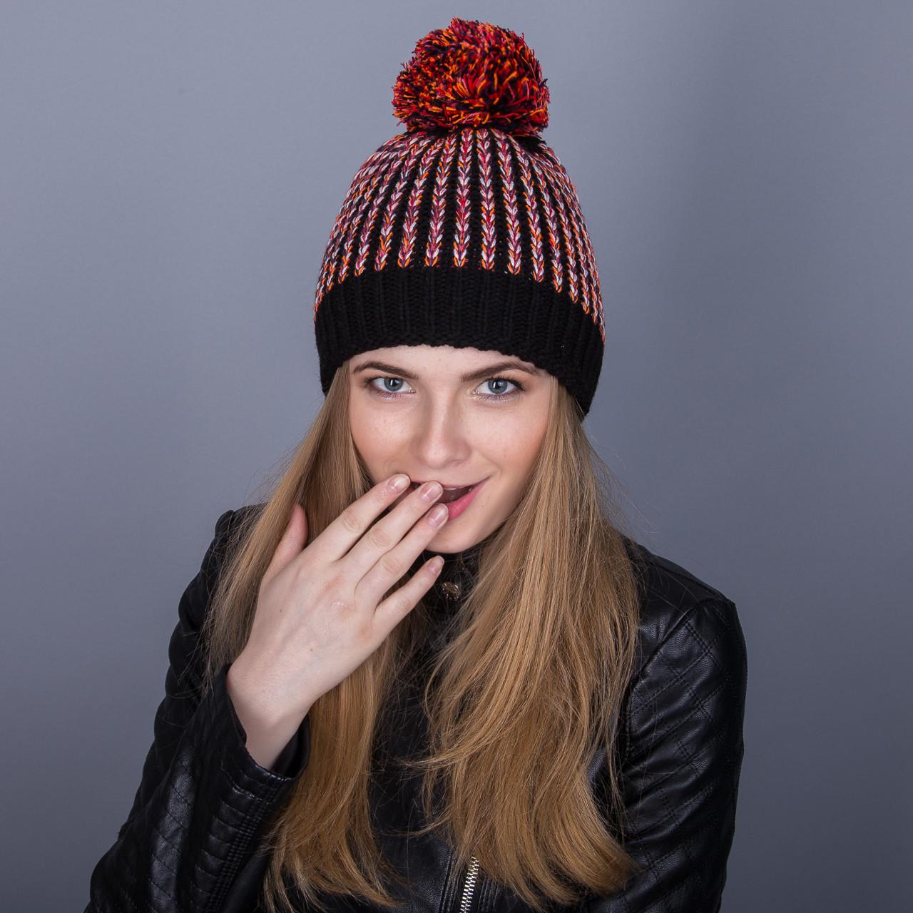 Разноцветная зимняя женская шапка с помпоном из ангорки - Артикул 7055