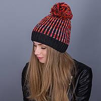 Зимняя женская шапка с помпоном разноцветная из ангорки - Артикул 7057