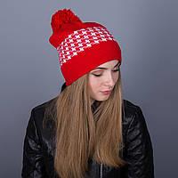 Женская шапка с помпоном из ангорки яркого цвета - Артикул 7062