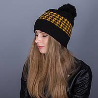 Яркая зимняя женская шапка с помпоном из ангорки - Артикул 7064