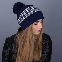 Яркая зимняя женская шапка с помпоном из ангорки - Артикул 7070