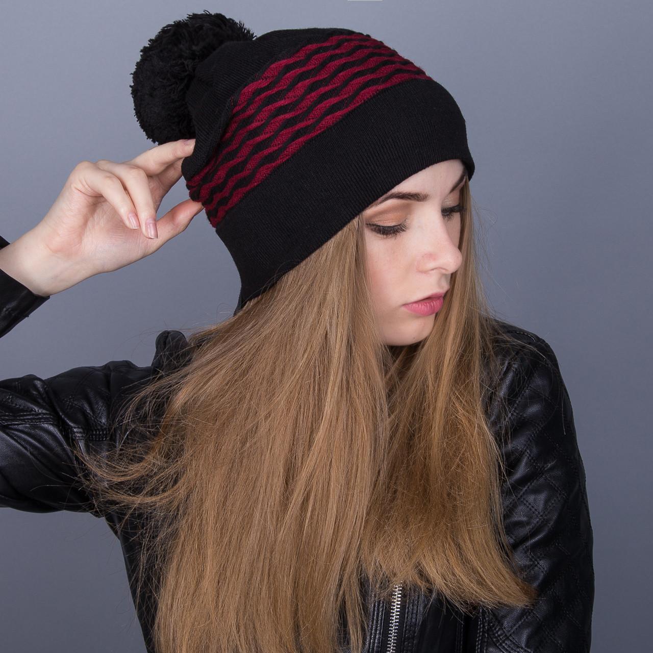 Модная зимняя женская шапка с помпоном из ангорки - Артикул 7073