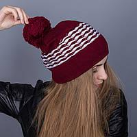 Крутая зимняя женская шапка с помпоном из ангорки - Артикул 7073