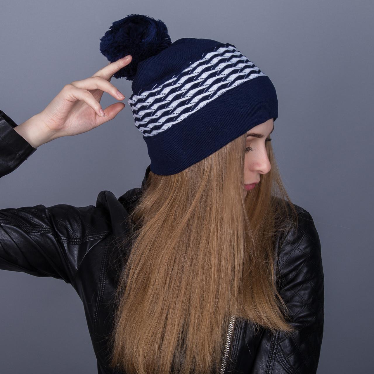 Зимняя женская брендовая шапка с помпоном из ангорки - Артикул 7075