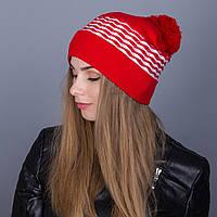 Крутая зимняя женская шапка с помпоном из ангорки - Артикул 7082