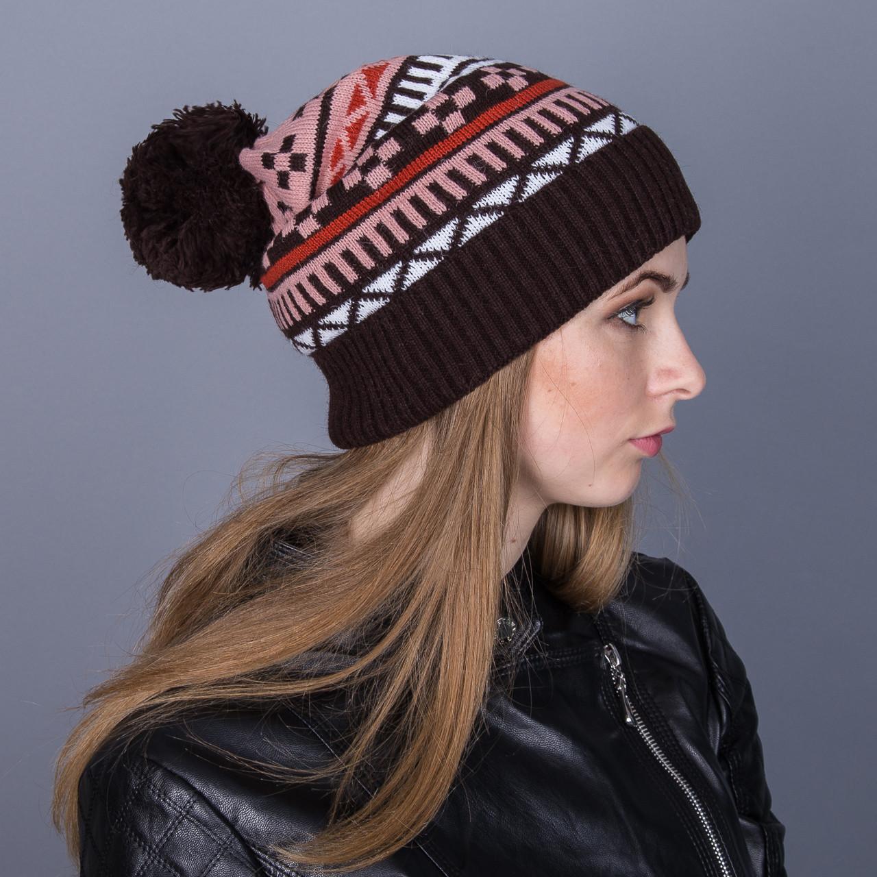 Женская вязанная зимняя шапка с помпоном из ангорки - Зигзаги - Артикул 7118