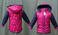 Модная детская утепленная куртка на флисе в сердечках