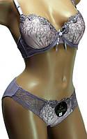 Комплект женский нижнего белья: бюстгальтер Push-Up, чашка В и трусы-плавки. Розница, опт.