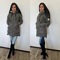 Теплая удлиненная женская куртка Moncler зимняя на синтепоне, цвет серый
