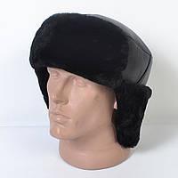 Мужская шапка-ушанка из натуральной кожи на меху (код 29-502)