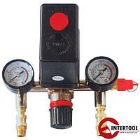 Прессостат в сборе (прессостат, редуктор, 2 манометра, предохранительный клапан, два выхода) (PT-9094)