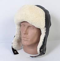 Мужская шапка-ушанка из натуральной кожи на овчине (код 29-505)