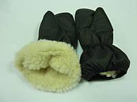 Зимние варежки на меху черные